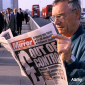 Man reading paper after Black Wednesday 1992